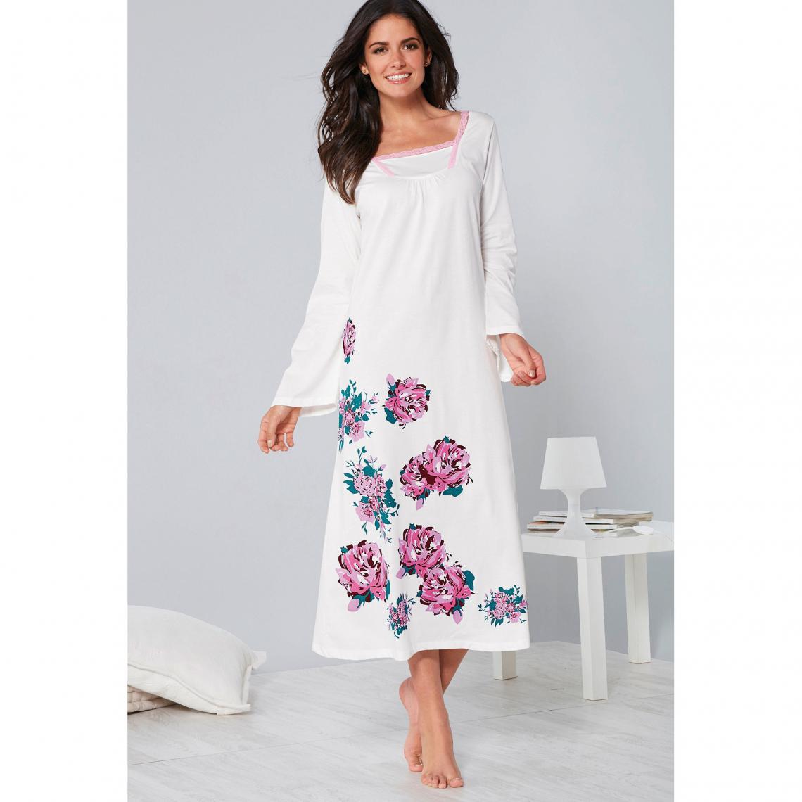 taille 40 trouver le prix le plus bas le meilleur Chemise de nuit roses imprimées et dentelle manches longues ...