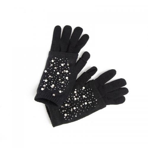 20955f87a44 Venca - Gants mitaines 2 en 1 avec perles et strass fantaisie femme - Noir -