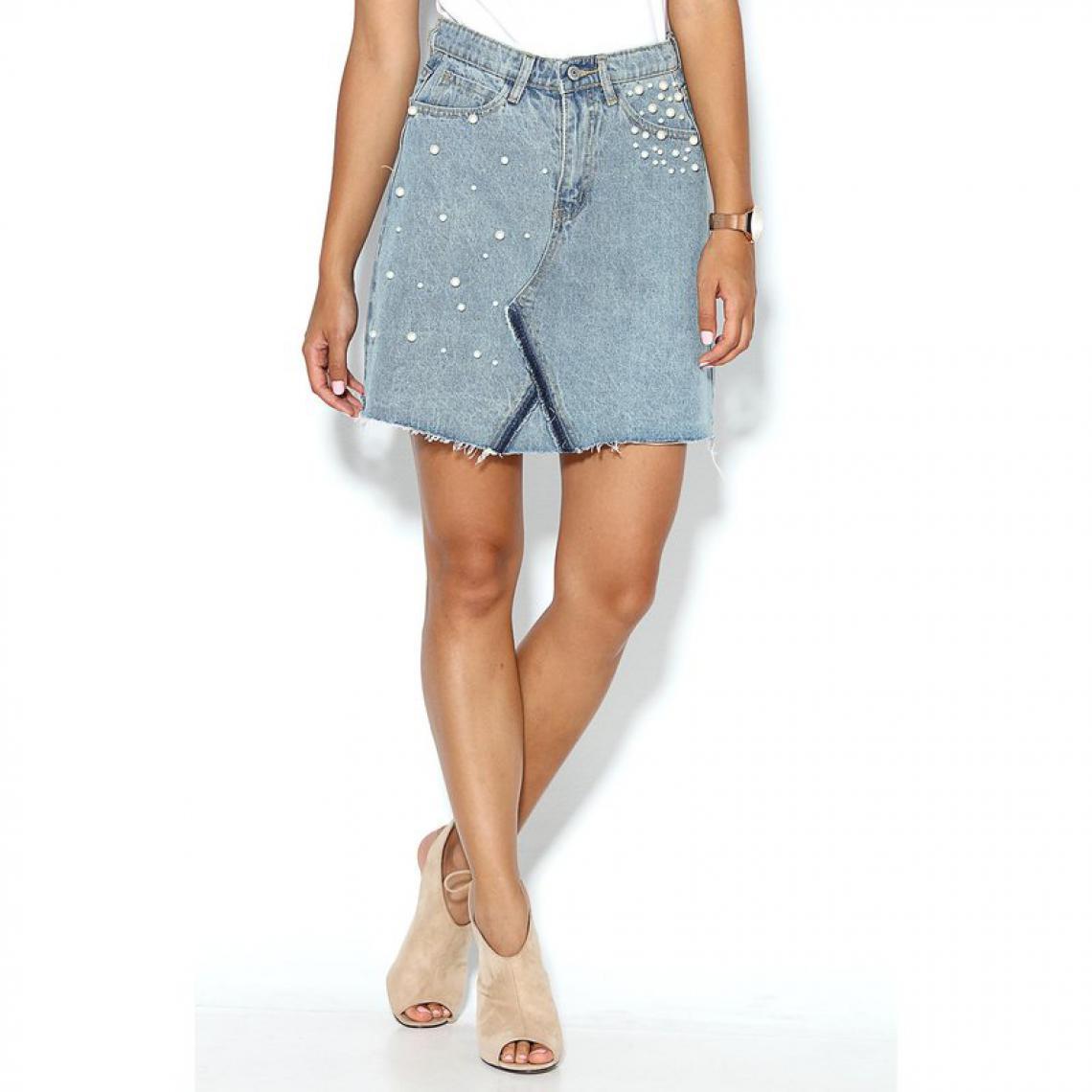 en Bleu3 Jupe jean femme 5 avec courte poches perles SUISSES sQxhtdrCBo