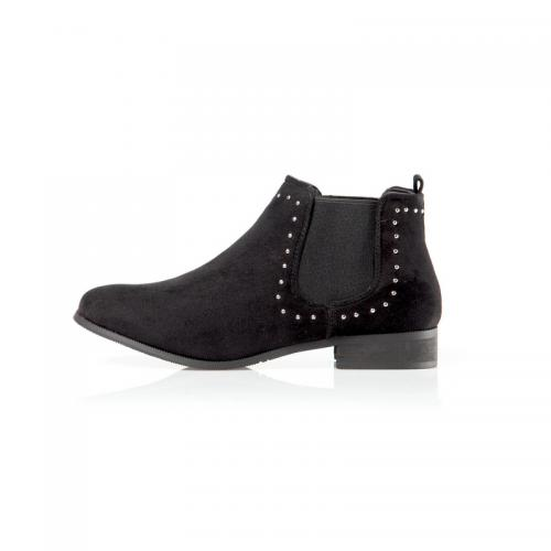 48e9a34365b Venca - Bottines avec punaises et élastiques latéraux femme - Noir - Boots  femme