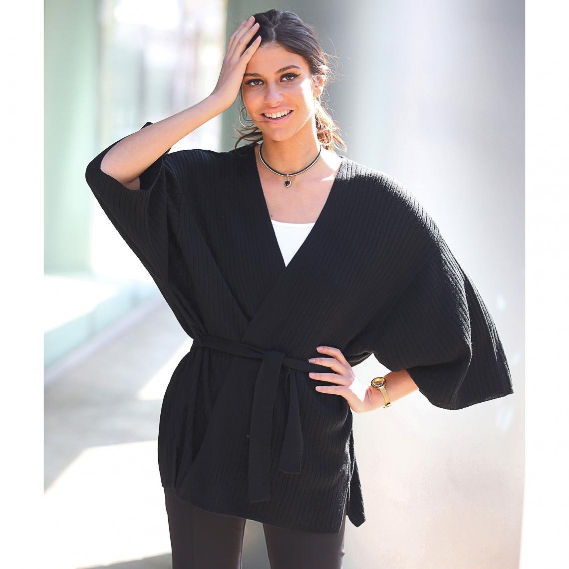 Cardigan croisé avec passants et ceinture manches longues kimono femme -  Noir Venca eca5a7d54e2