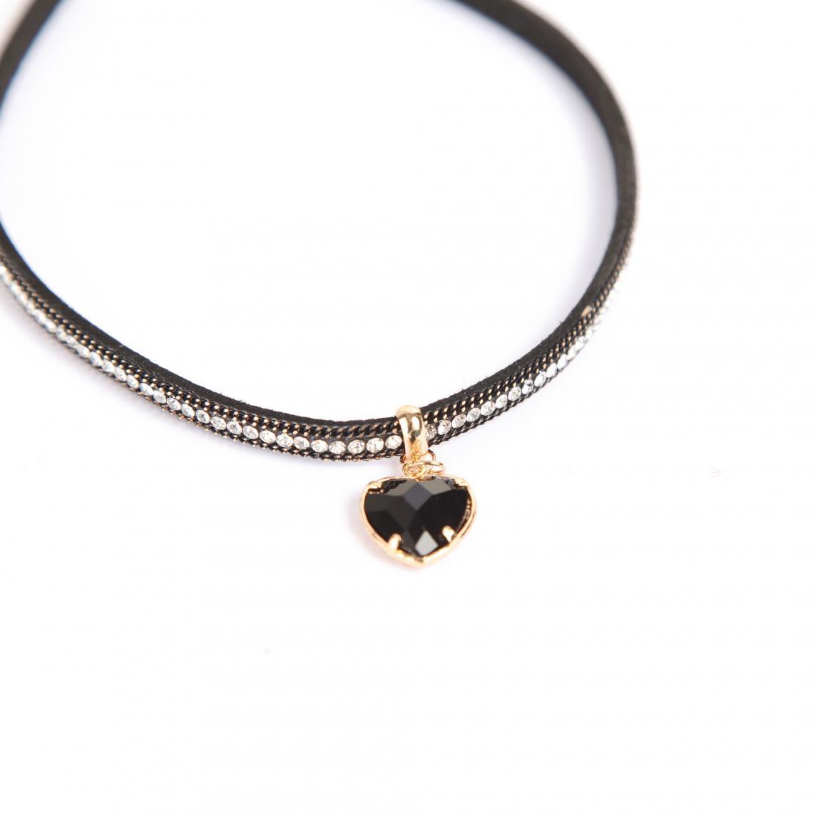 d91c41f24f9 Collier ras-du-cou avec strass fantaisie et pendentif coeur femme - Noir  Venca