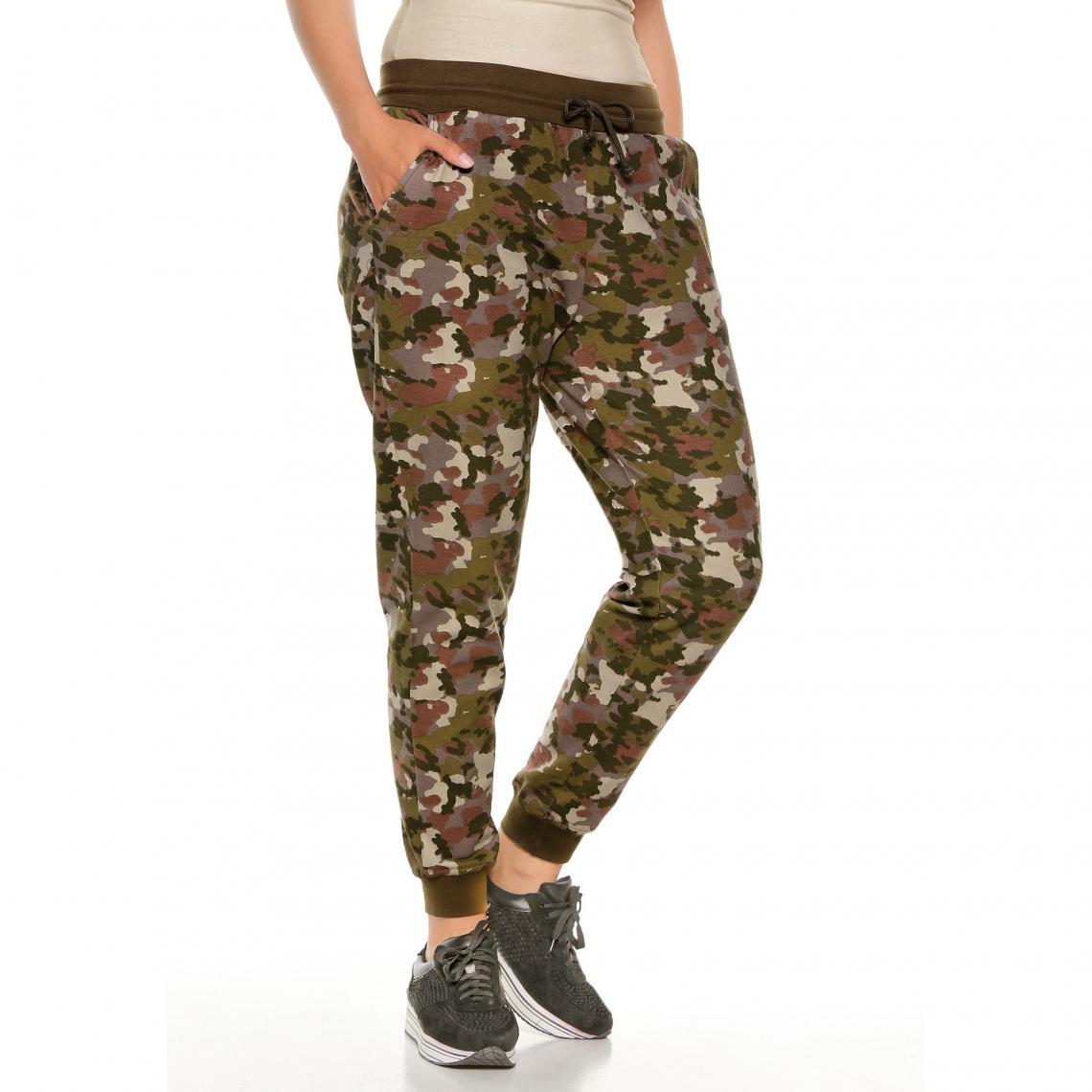 2b3adfeb643 Pantalon jogging imprimé camouflage grandes tailles femme - Imprimé ...