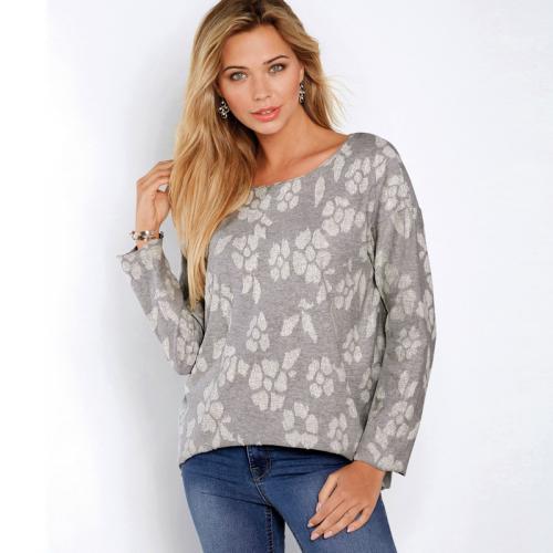 493179cf16925 Venca - Sweat asymétrique manches longues femme - gris chiné - Promos  vêtements femme Venca