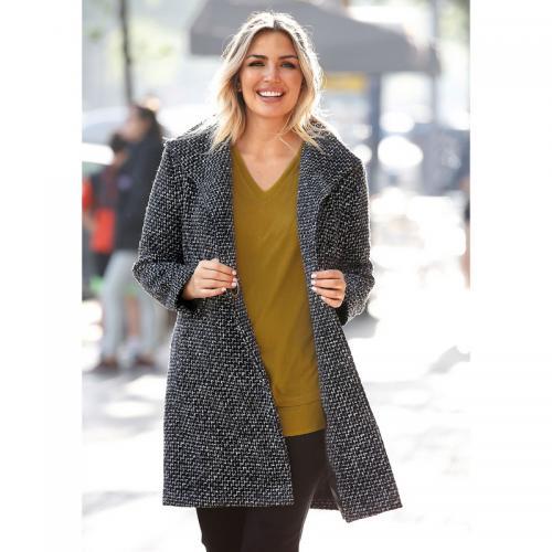 Venca - Manteau croisé col à revers grandes tailles femme - Noir - Manteaux  pour femme dae6f1c44174