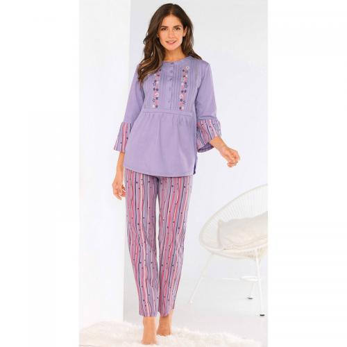 f73b97bf6fbd3 Venca - Pyjama tee-shirt avec broderie pantalon rayé femme - Violet -  Lingerie de