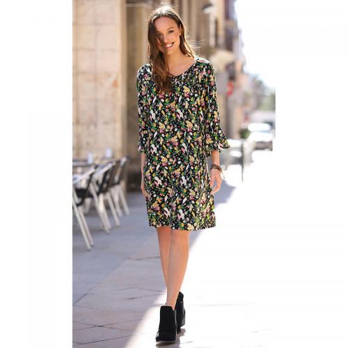 Venca - Robe courte imprimé floral manches 3 4 volantées femme - Imprimé  Noir - 1367788c8baa