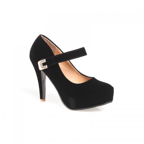 618dfd01de382 Venca - Chaussures à talon en velours lanière et boucle avec strass  fantaisie - Noir -