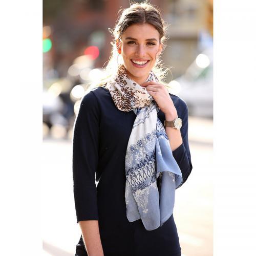 Venca - Foulard rectangulaire imprimé floral et ethnique femme - Fleurs  Bleu - Foulards femme 7e0cd7bbe17