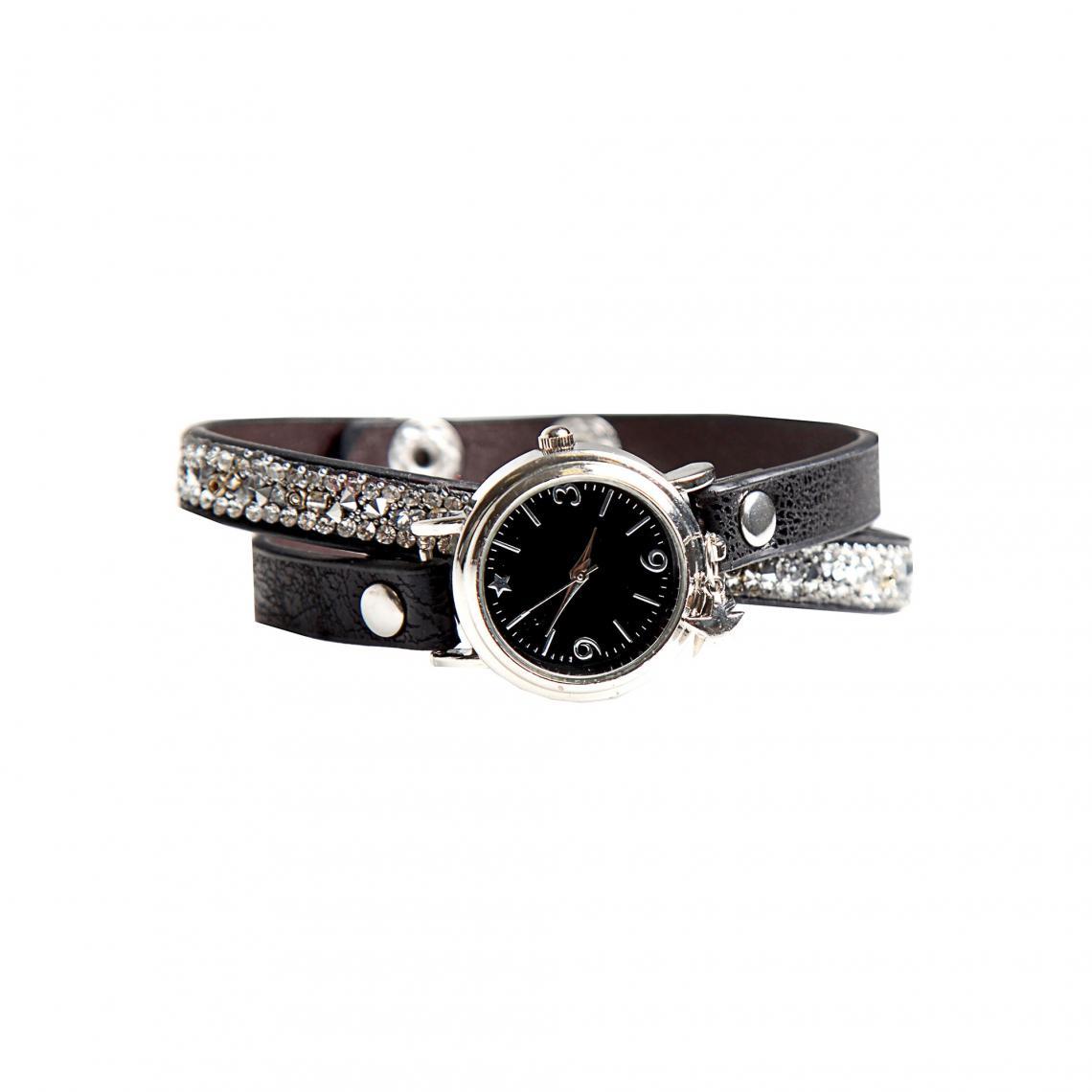 c5914944633 Montre bracelet double brillant avec strass fantaisie femme - Noir ...