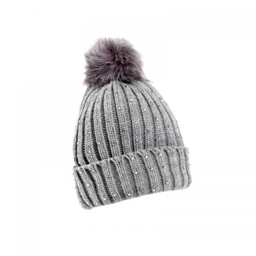 Venca - Bonnet en tricot avec pompon en fourrure synthétique et strass  fantais - Gris - 1db3cf570c0