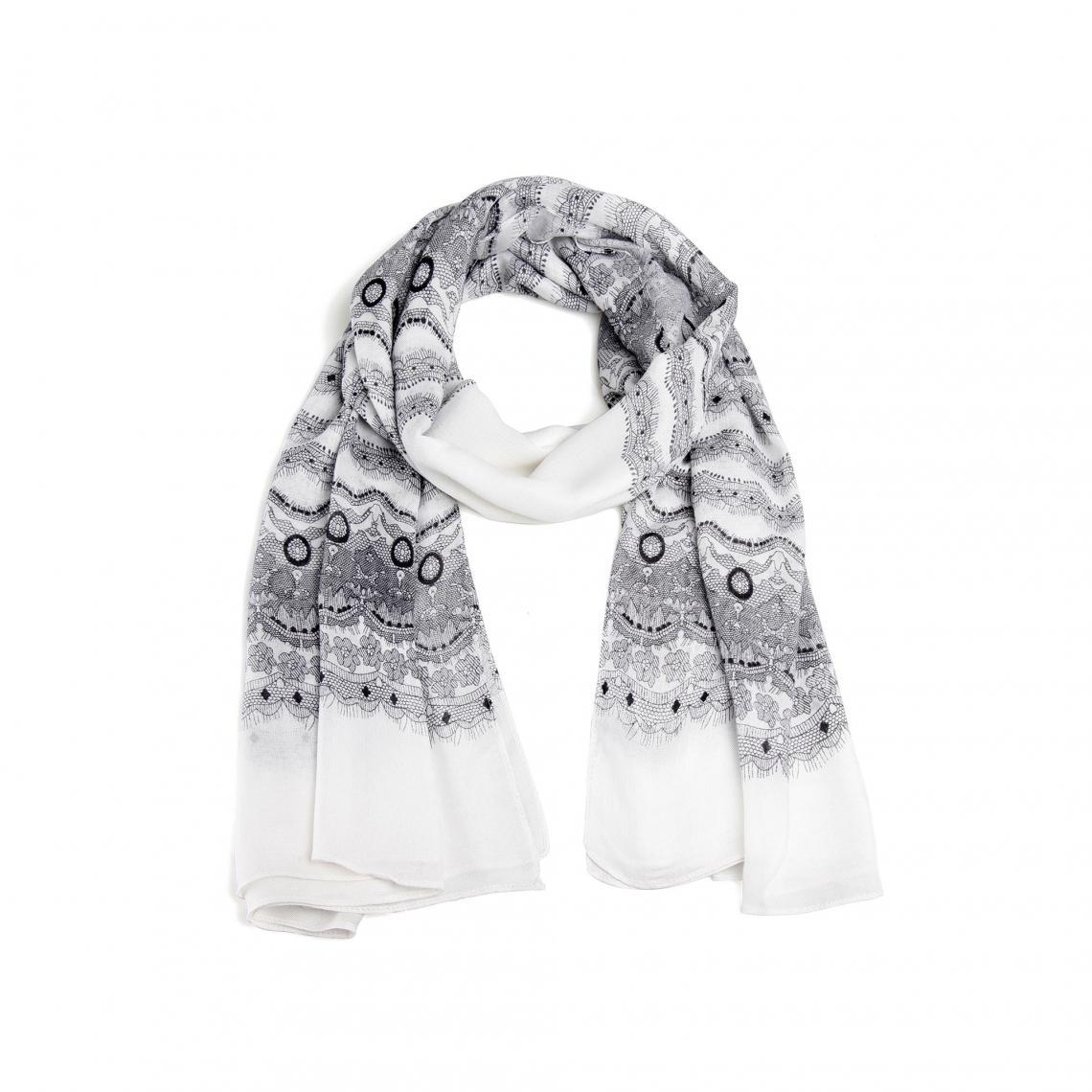 Foulard rectangulaire imprimé aspect dentelle femme - Blanc - Noir Venca 0ae4ad272b4