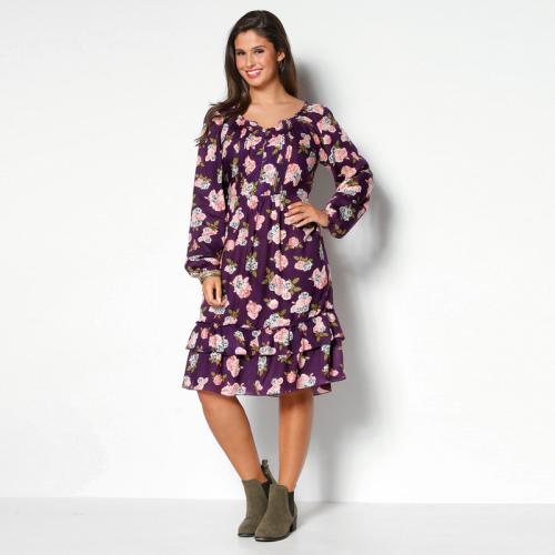 708ffbb6dc0 Venca - Robe imprimé floral jeux de plis et double volant grandes tailles  femme - Imprimé