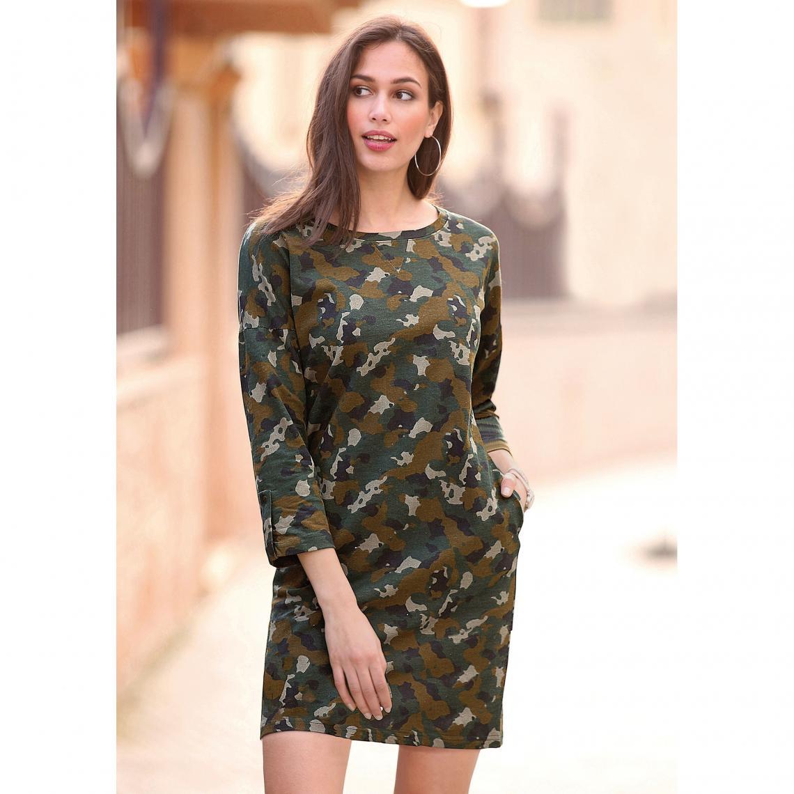 5657a0df68b Robe courte imprimée manches 3 4 et poches femme - Imprimé Kaki Venca Femme