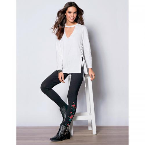 Venca - Legging fleurs imprimées sur le bas femme - Noir - Promos vêtements  femme Venca 89f0bb03322