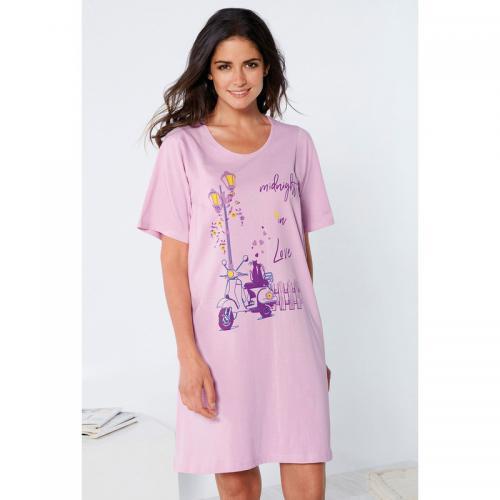 quantité limitée Nouvelle liste grandes variétés Chemise de nuit évasée imprimée manches courtes femme - lilas clair - Venca