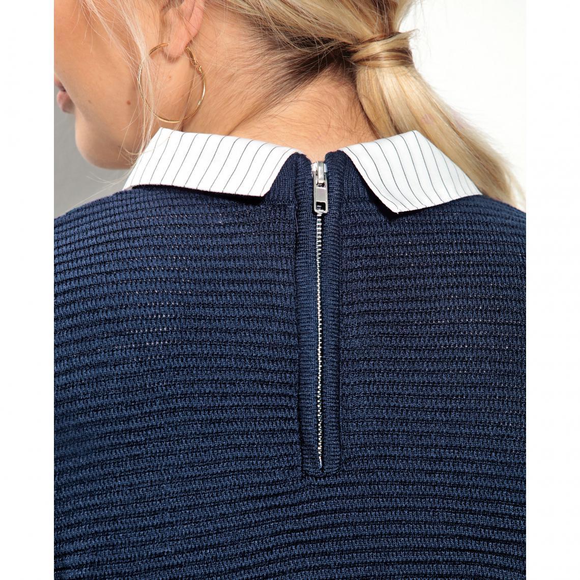 b44af2deefbc9 Pull effet 2 en 1 de chemise rayée grandes tailles femme - Bleu ...