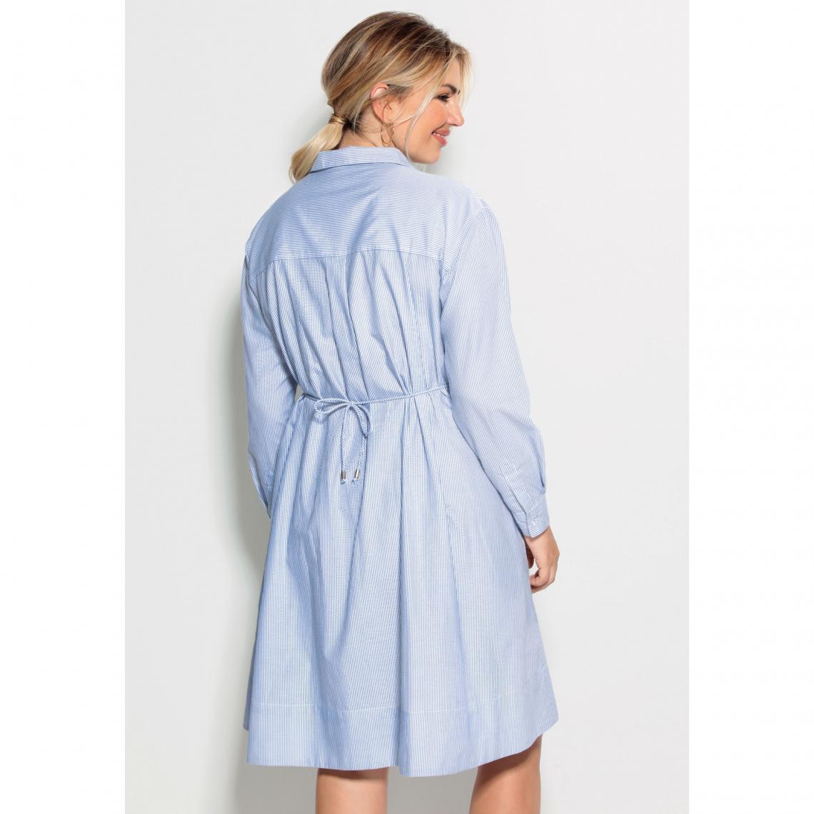 Robe chemise rayée cordon de serrage manches longues grandes tailles femme Imprimé Plus de détails
