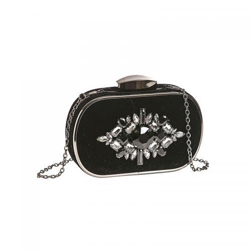f293235ef99ab Venca - Sac à main de soirée rigide velours et pierres fantaisie femme -  Noir -
