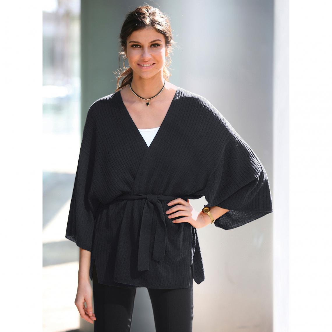 Cardigan croisé avec passants et ceinture manches longues kimono femme -  Noir Venca Femme 89591dbcf5a