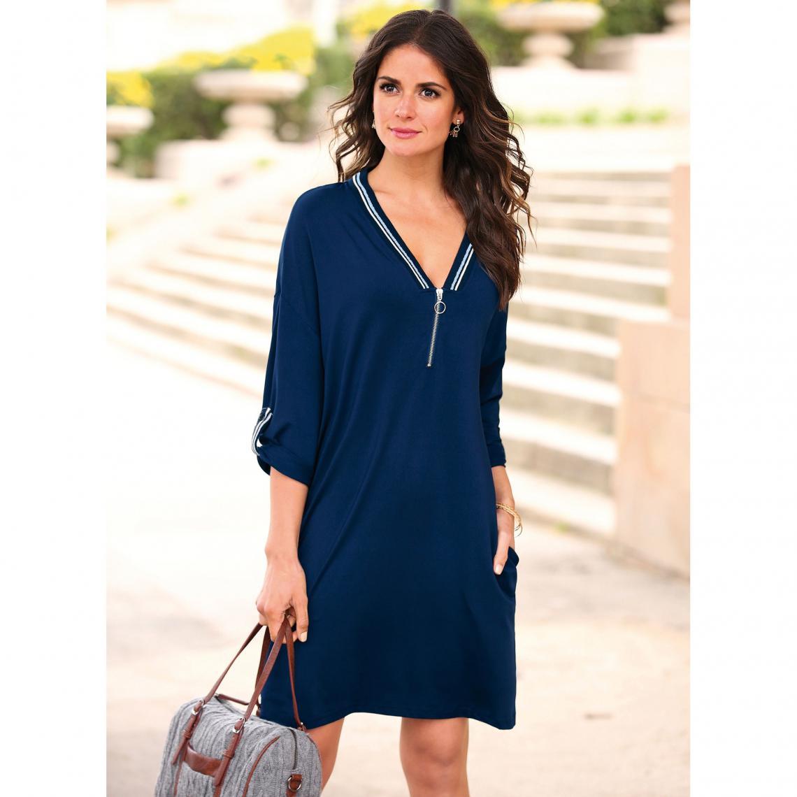 Femme Courte Col Zippé Longues Bleu V Ajustables Manches Robe nPOZwN80kX