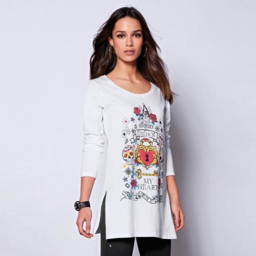 1ab8fd22042f2 Venca - Tee-shirt fendu avec imprimé manches longues femme - Blanc - Promos  vêtements
