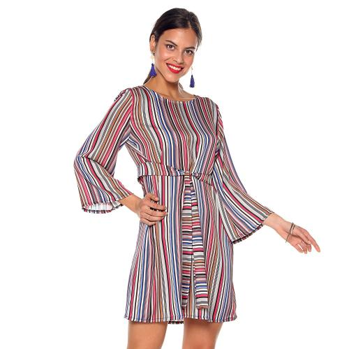 Venca - Robe aspect soie rayures ve ray? rose tu - Robes femme