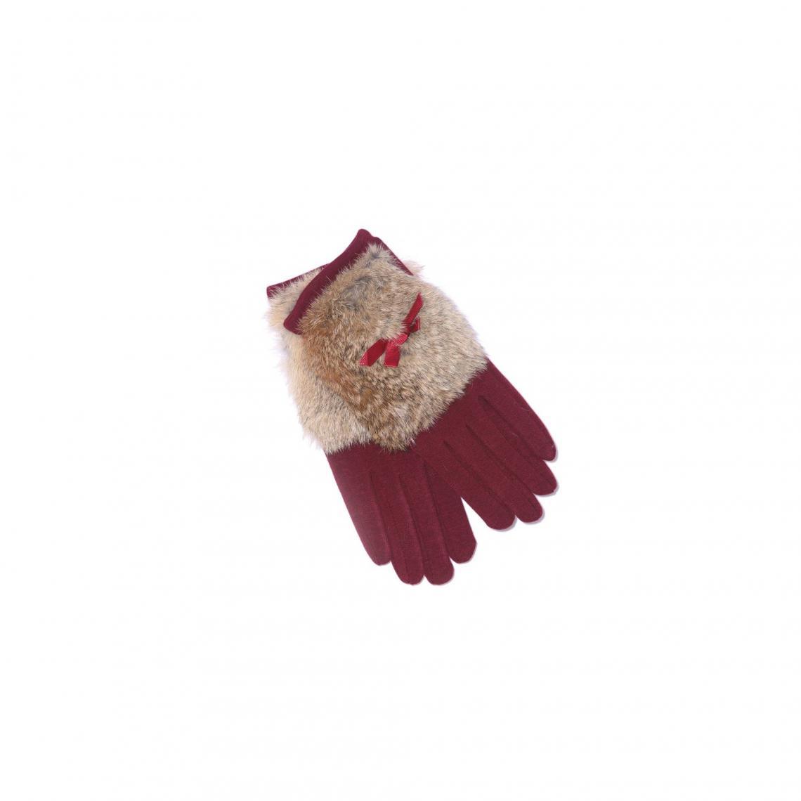 Gants avec fourrure synthétique et noeud femme - Rouge Grenat