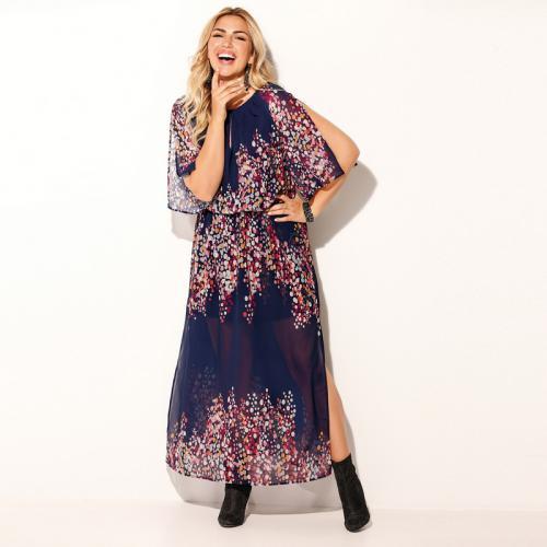 be3d98e3503 Venca - Robe longue de soirée imprimée fendue grandes tailles femme -  Imprimé Bleu - Robe