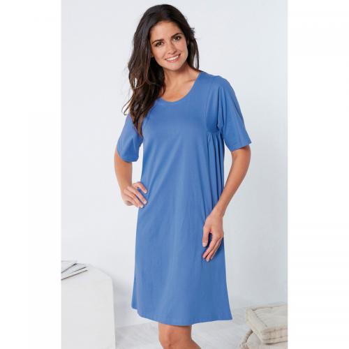 super populaire 149b8 bbcd9 Chemise de nuit évasée unie manches courtes femme - Bleu - Venca