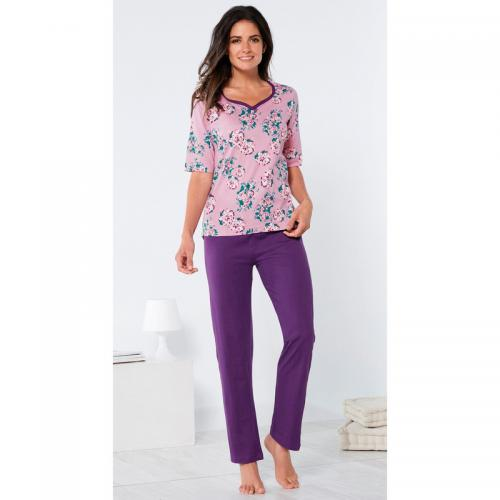 31f456b058166 Venca - Pyjama tee-shirt imprimé manches aux coudes taille élastique femme  - Imprimé Lilas