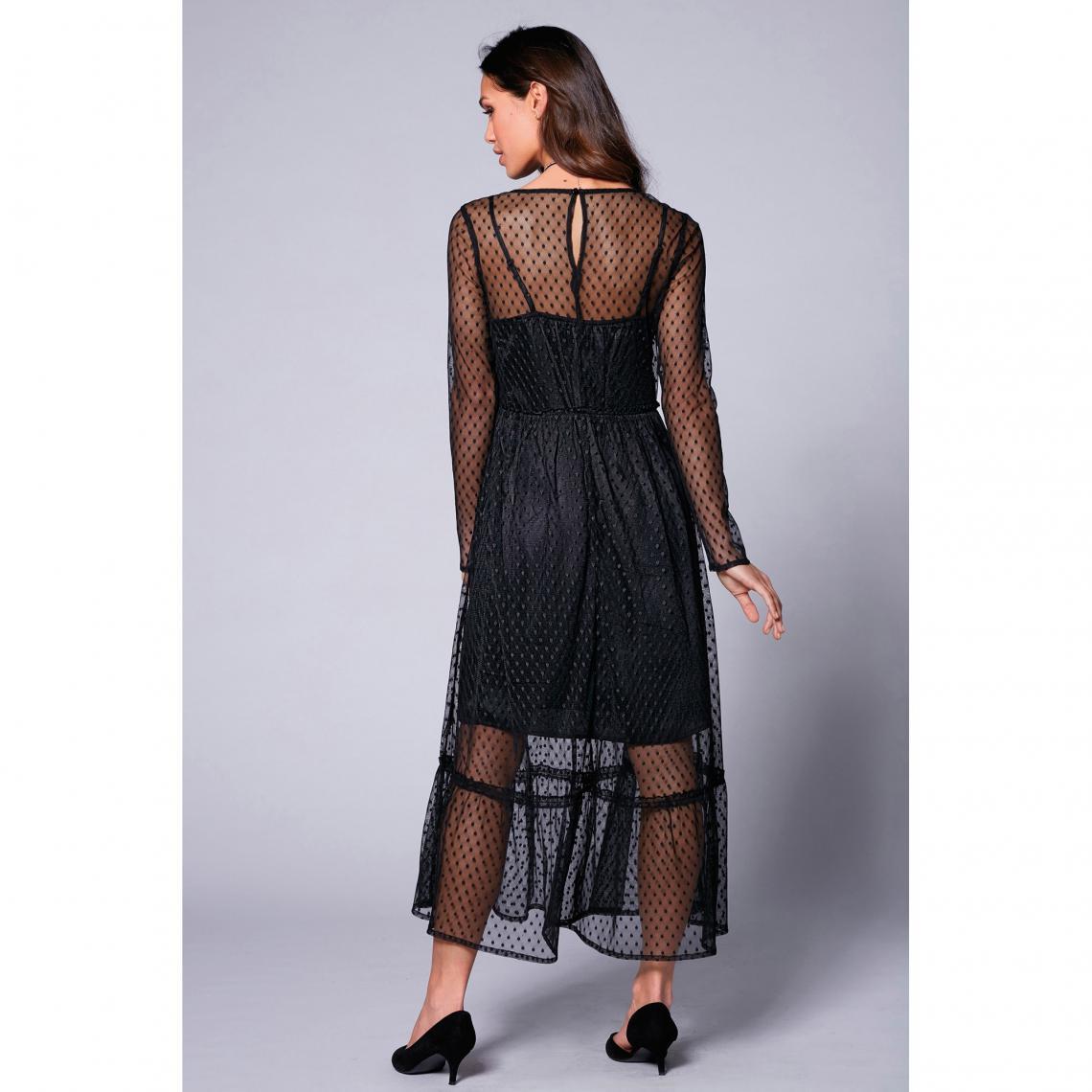 949c285ac1a Robe longue manches longues tulle à plumetis semi-transparent femme ...