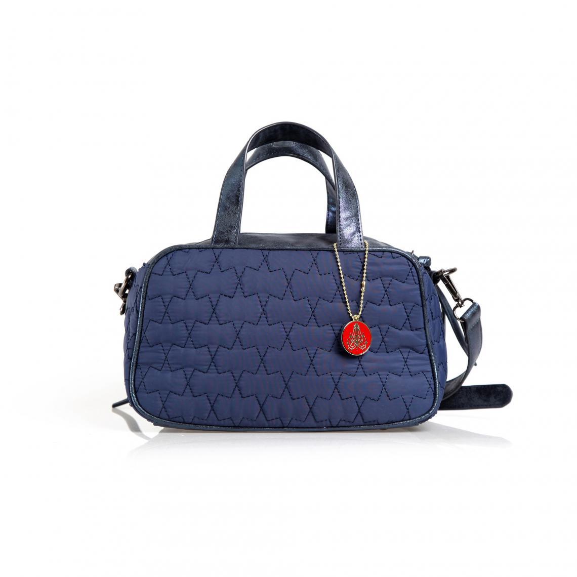 5b47b5757f Sac à main anses et bandoulière ajustable femme - Bleu Marine | 3 ...