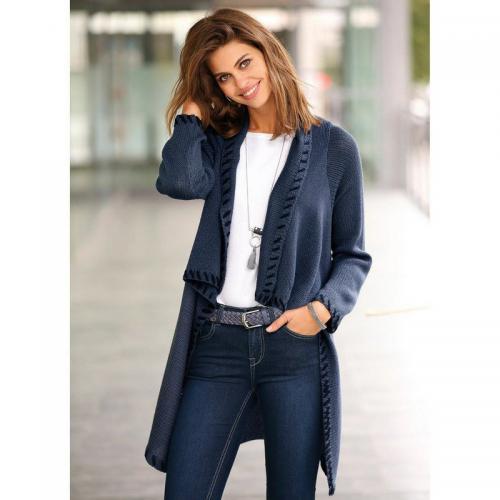 267d7eb21a9a Venca - Gilet asymétrique et croisé devant avec bouton femme - Bleu Nuit - Nouveautés  Mode