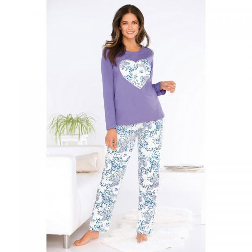 404cb0a489700 Venca - Pyjama 2 pièces tee-shirt coeur pantalon imprimé femme - Imprimé  Violet -