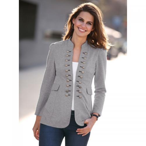 Venca - Veste col mao manches longues boutons fantaisie femme - gris chiné  - Vestes blazers 6017c9b7492