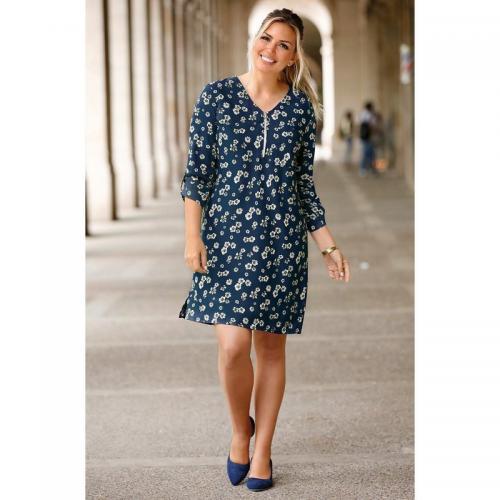 8b2af71cd15f8 Venca - Robe courte imprimée col V zippé manches longues ajustables grandes  ta - Imprimé Bleu