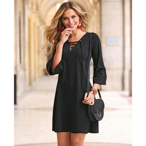 b00098c47c9 Venca - Robe manches 3 4 col V oeillets et cordons femme - Noir -