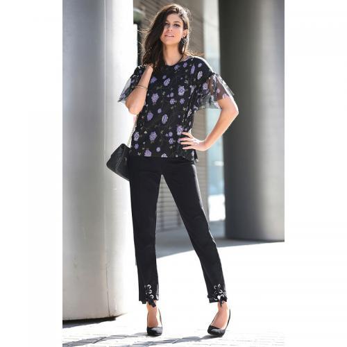 365ae6e9ba7a0 Venca - Pantalon taille haute oeillets métalliques et rubans sur bas femme  - Noir - Nouveautés
