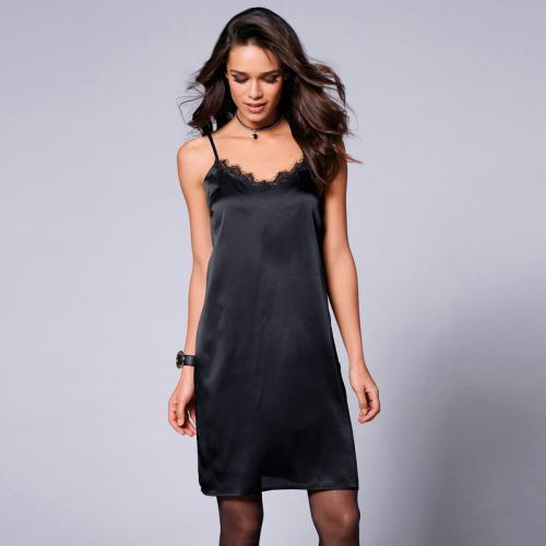 Venca - Robe inspiration lingerie à bretelles ajustables et dentelle femme  - Noir - Vetements femme cfe9234671c0