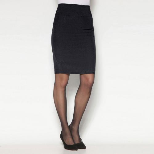 Venca - Jupe crayon pinces devant et dos et fente bas dos femme - Noir - 447a0fb94b27