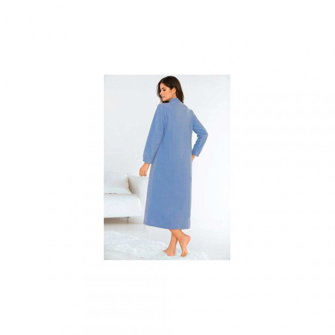Robe De Chambre Polaire Zippée Avec Broderie Femme Bleu