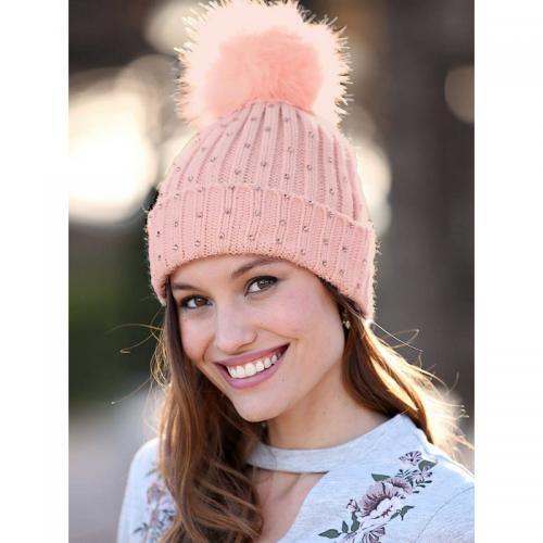 Venca - Bonnet en tricot avec pompon en fourrure synthétique et strass  fantais - Rose - 5acf8a8b0e2