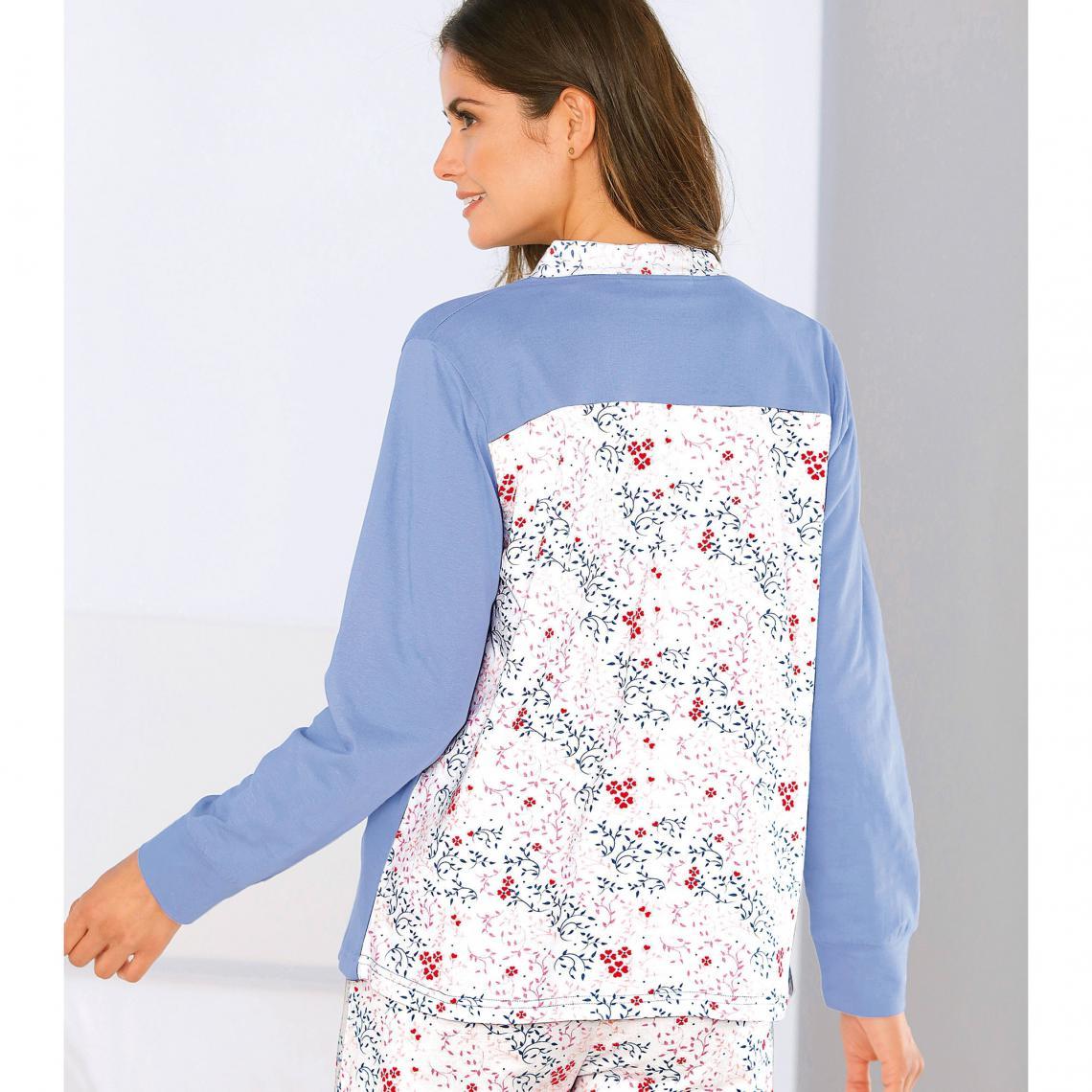 de7e34f94173d Pyjama 3 pièces tee-shirt pantalon et veste imprimé floral femme - Blanc /  lavande
