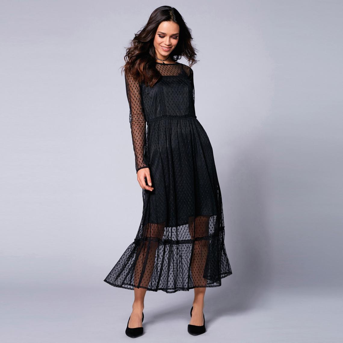 254404138eb Robe longue manches longues tulle à plumetis semi-transparent femme - Noir  Venca Femme