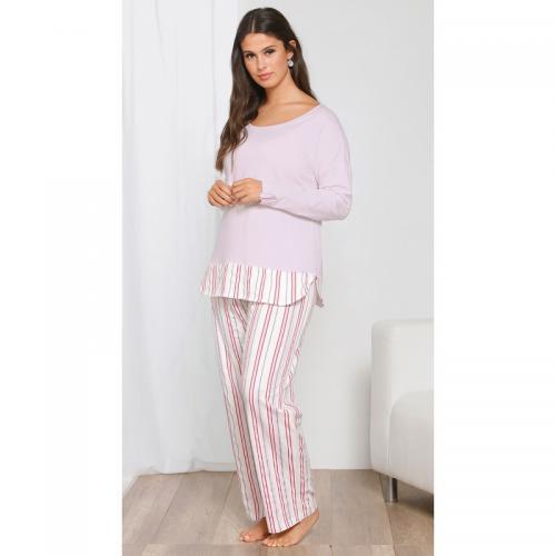 le plus populaire pas cher sur des pieds à Pyjama tee-shirt effet 2 en 1 pantalon rayé grandes tailles femme - Rose -  Venca