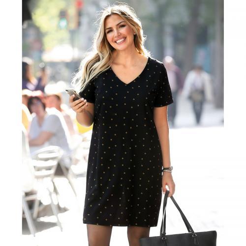 838521b7705 Venca - Robe imprimée ouverture dos ajustable grandes tailles femme -  Imprimé Noir - Robes de