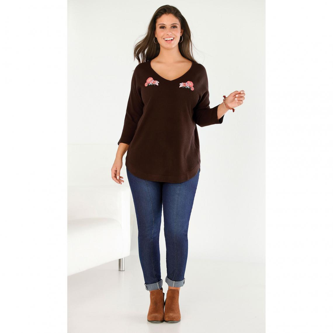 Pull broderie florale manches 3 4 grandes tailles femme - Marron ... ce953720088b