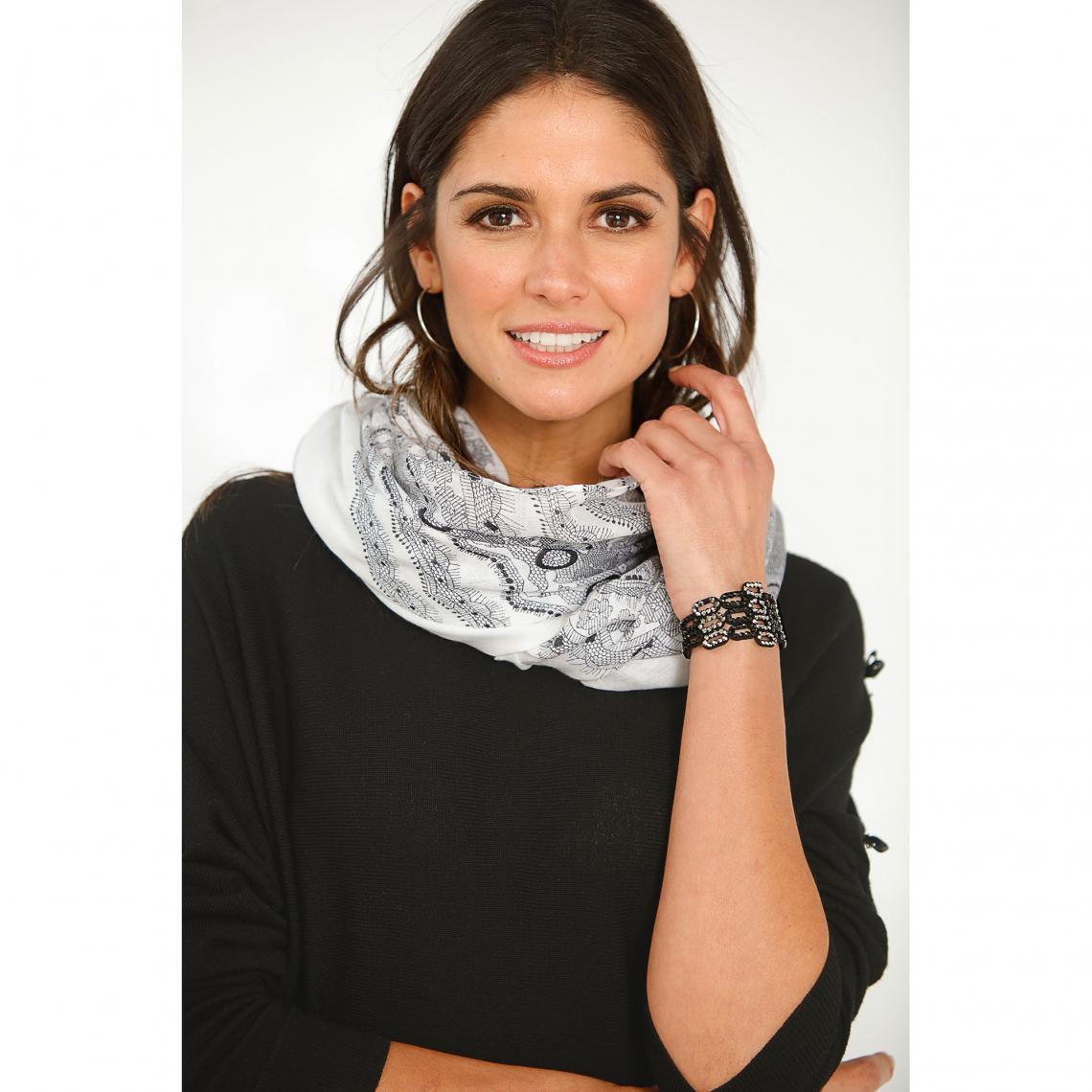 Foulards Venca Cliquez l image pour l agrandir. Foulard rectangulaire  imprimé aspect dentelle femme - Blanc - Noir Venca 387d3b37451