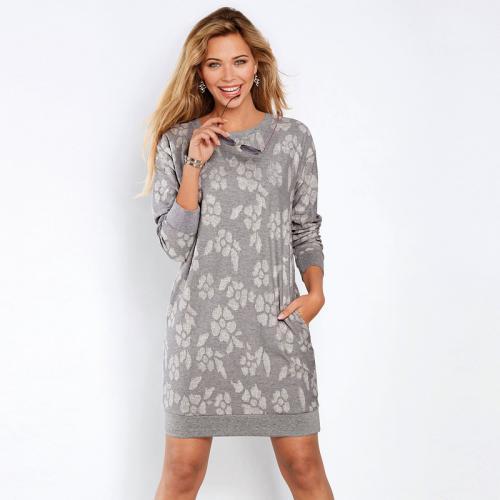 7c1ce5ad64e Venca - Robe imprimé fantaisie manches longues et poches femme - gris chiné  - Robe Venca